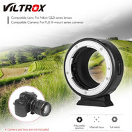 Viltrox NF-FX1 Manual Focus Lens Adapter for Nikon G&D Lens to Fuji X-mount Camera