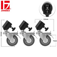 Jinbei JB11-036A 75mm 3-in-1 Light Stand Roller Wheels Caster Set ( Fits Max. Ø25mm legs)