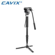 Cavix MPD-284C+VH-01 Carbon Fiber Video 4-section Monopod with Video Head (Max. Load 8kg , Twist Lock)