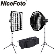 Nicefoto 2x HB-1000BII 100W Portable Li-ion Battery LED Video Lighting Kit