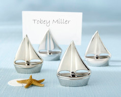 192 Silver Sailboat Beach Wedding Place Card Holders