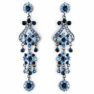 "Dramatic 4"" Navy Blue Chandelier Earrings"
