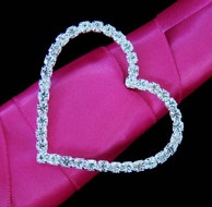 5 Bridal Party Crystal Heart Bouquet Buckles