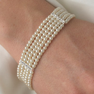 5 Row Pearl and Cubic Zirconia Bridal Bracelet
