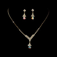 5 Sets Gold Plated AB Crystal Drop Bridesmaid Jewelry