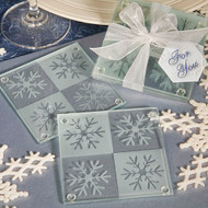72 Winter Wedding Snowflake Coaster Favor Sets