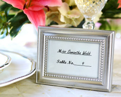 96 Beaded Silver Frame Wedding Place Card Holders