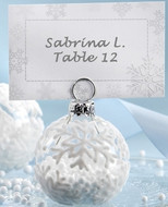 144 Flocked Glass Ornament Winter Wedding Place Card Holders