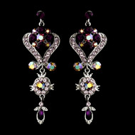 Purple Amethyst Crystal Chandelier Earrings