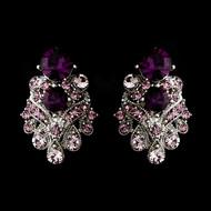 Amethyst Rhinestone Wedding or Prom Clip On Earrings