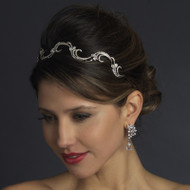 Antique Silver Crystal Vine Wedding Headband Tiara