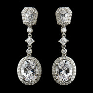 Antique Silver CZ Crystal Dangle Wedding Earrings