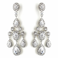 Glamorous Antique Silver CZ Crystal Wedding Chandelier Earrings