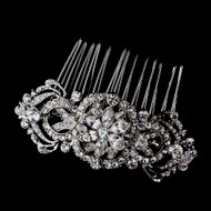 Antique Silver Plated Vintage Crystal Wedding Hair Comb