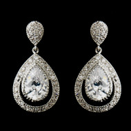 Antique Silver Plated Petite CZ Wedding Earrings