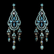 Aqua Rhinestone Chandelier Earrings