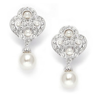 Art Deco CZ and Pearl Great Gatsby Wedding Earrings