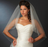 Beaded Edge Two Layer Fingertip Length Bridal Veil