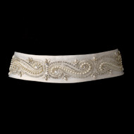 Pearl and Rhinestone Beaded Swirl Wedding Dress Sash Belt - sale!