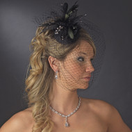 Black Birdcage Veil and Hat with Feathers and Crystals