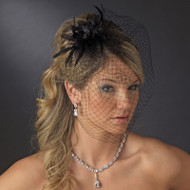 Black Birdcage Bridal Veil with Feather Fascinator - sale!