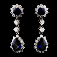 Blue Sapphire Rhinestone and CZ Drop Wedding Earrings
