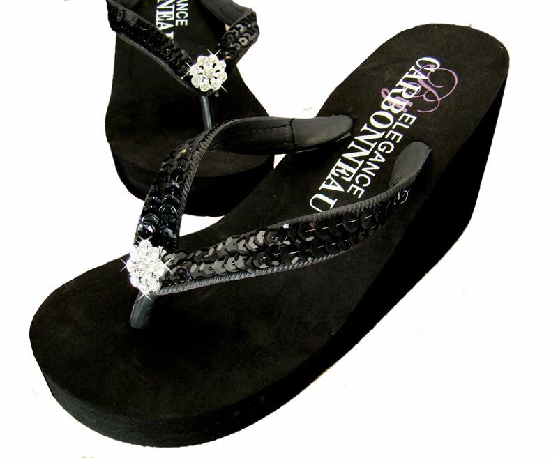 c0de15f0e506 Elegant Black Sequined Bridal Wedge Flip Flops