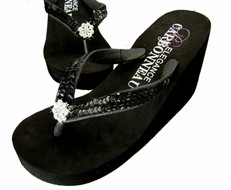 Black Sequined Bridal Wedge Flip Flops