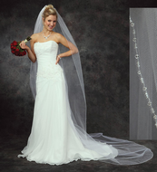 JL Johnson Bridal C309 Cathedral Veil with Crystal Edge