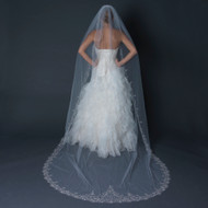 Elegant Cathedral Length Wedding Veil with Beaded Silver Embroidery