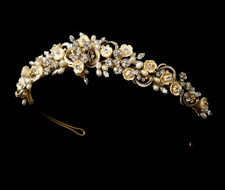 Champagne Porcelain Flower Gold Plated Bridal Tiara