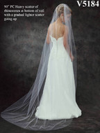 Chapel Length Bridal Veil with Rhinestones V5184 in Many Colors