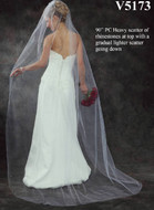 Chapel Length Wedding Veil with Rhinestones V5173 in Many Colors