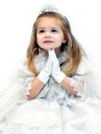 Child's Flower Girl Satin Wrist Length Gloves
