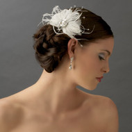 Couture Feather Fascinator Bridal Hair Comb