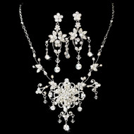Couture Floral Crystal Wedding Jewelry Set