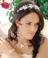 Keshi Pearl and Crystal Necklace, Earring and Tiara Wedding Jewelry Set