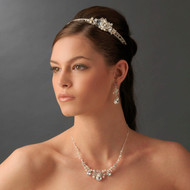 Couture Rhinestone and Pearl Headband and Jewelry Set