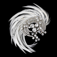 Art Deco Crystal and Ivory Feather Fascinator Wedding Clip