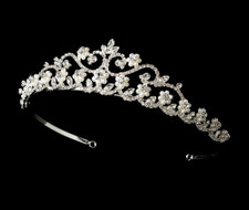 Silver Plated Crystal and Pearl Bridal Tiara hp2031