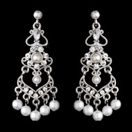 Crystal and White Pearl Chandelier Bridal Earrings