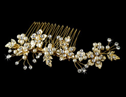 Crystal and Pearl Gold Floral Bridal Comb