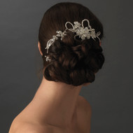 Crystal and Rhinestone Silver Plated Floral Bridal Comb