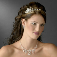 Crystal and Rhinestone Floral Headband and Jewelry Set