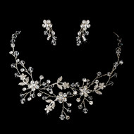 Crystal and Rhinestone Floral Vine Bridal Jewelry
