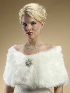 Ivory Cream Faux Fox Fur Bridal Wedding Wrap