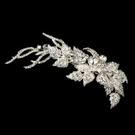 Crystal and Rhinestone Floral Leaf  Wedding Hair Clip