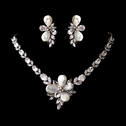 Cubic Zirconia And Pearl Wedding Jewelry Set