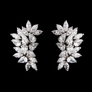Cubic Zirconia (CZ) Clip On or Pierced Bridal Formal Earrings