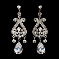 Cubic Zirconia Chandelier Bridal Earrings